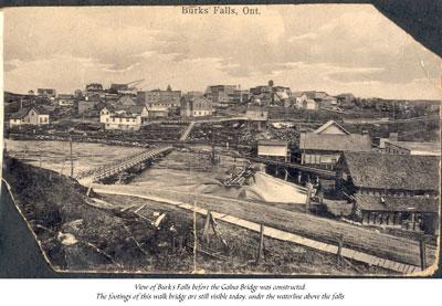 Burk's Falls before Galna Bridge was Built, circa 1900