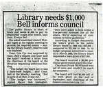 Library Needs $1,000 Bell Informs Council, Blind River 1994