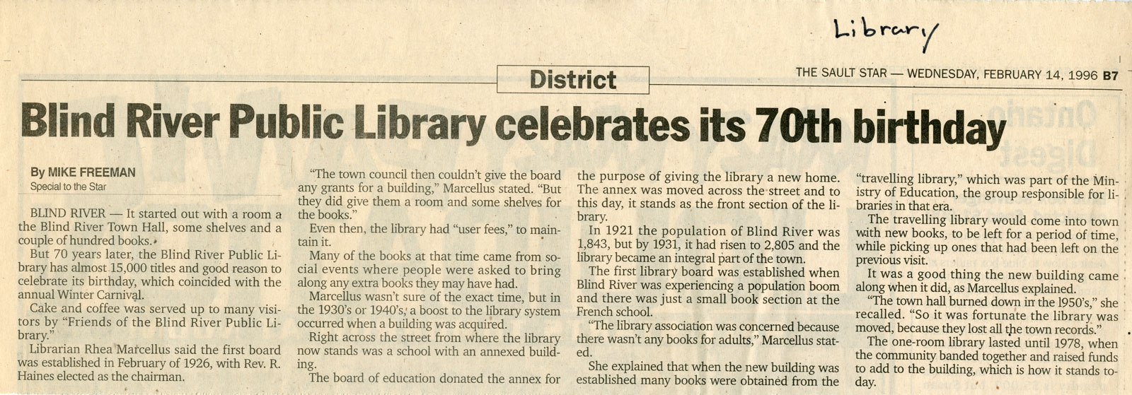 Blind River Library Celebrates Its 70th Birthday, 1996