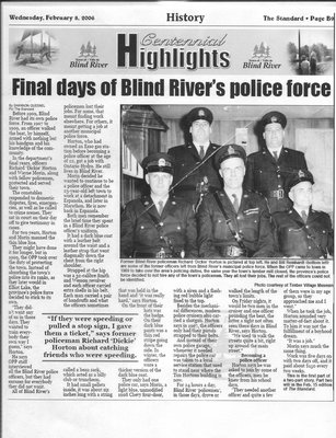 Final Days Of Blind River's Police Force - Part 1 - The Standard, 2006