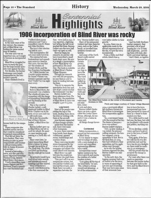 1906 Incorporation of Blind River Was Rocky - The Standard, 2006