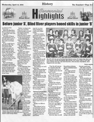 Before Junior A, Blind River Players Honed Skills In Junior B - The Standard, 2006