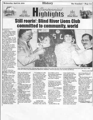 Still Roarin': Blind River Lions Club Committed to Community, World - The Standard, 2006