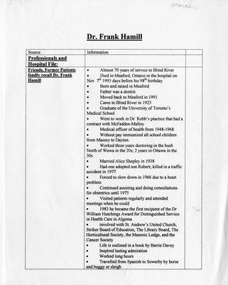 Dr. Frank Hamill History, Blind River, 1896-1993