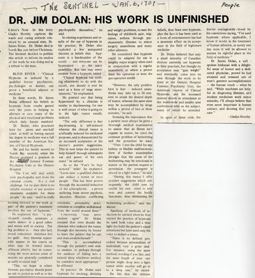 Dr. Jim Dolan's Work Is Unfinished, Blind River, The Sentinel, 1901