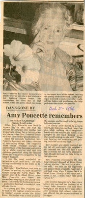Amy Poucette Remembers, Blind River, The Standard,1986