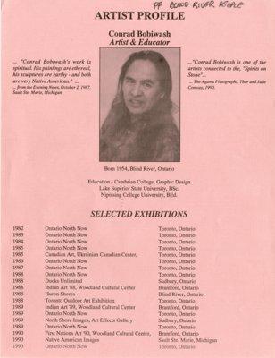 Conrad Bobiwash Artist Profile, Blind River, Circa 1996
