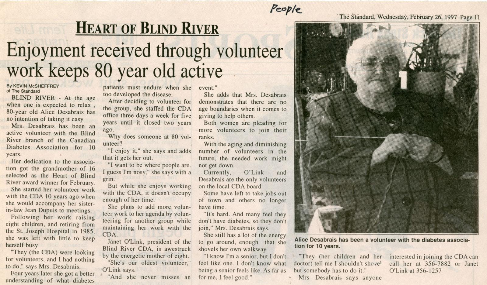 Enjoyment Received Through Volunteer Work, Blind River, The Standard, 1997