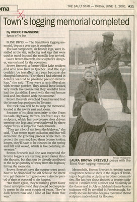 Town's Logging Memorial Completed, Blind River, 2001