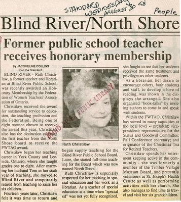 Former Teacher Receives Honorary Membership, Blind River, The Standard, 1995