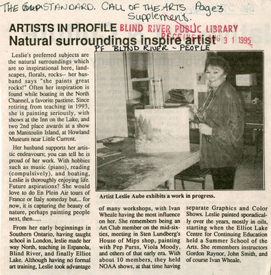 Artists In Profile - Natural Surroundings Inspire Artist, Blind River, The Standard,1995
