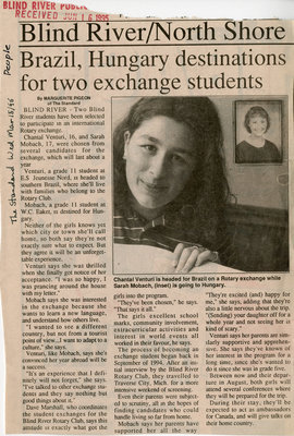 Brazil, Hungary Destinations For Two Exchange Students, Blind River, The Standard, 1995