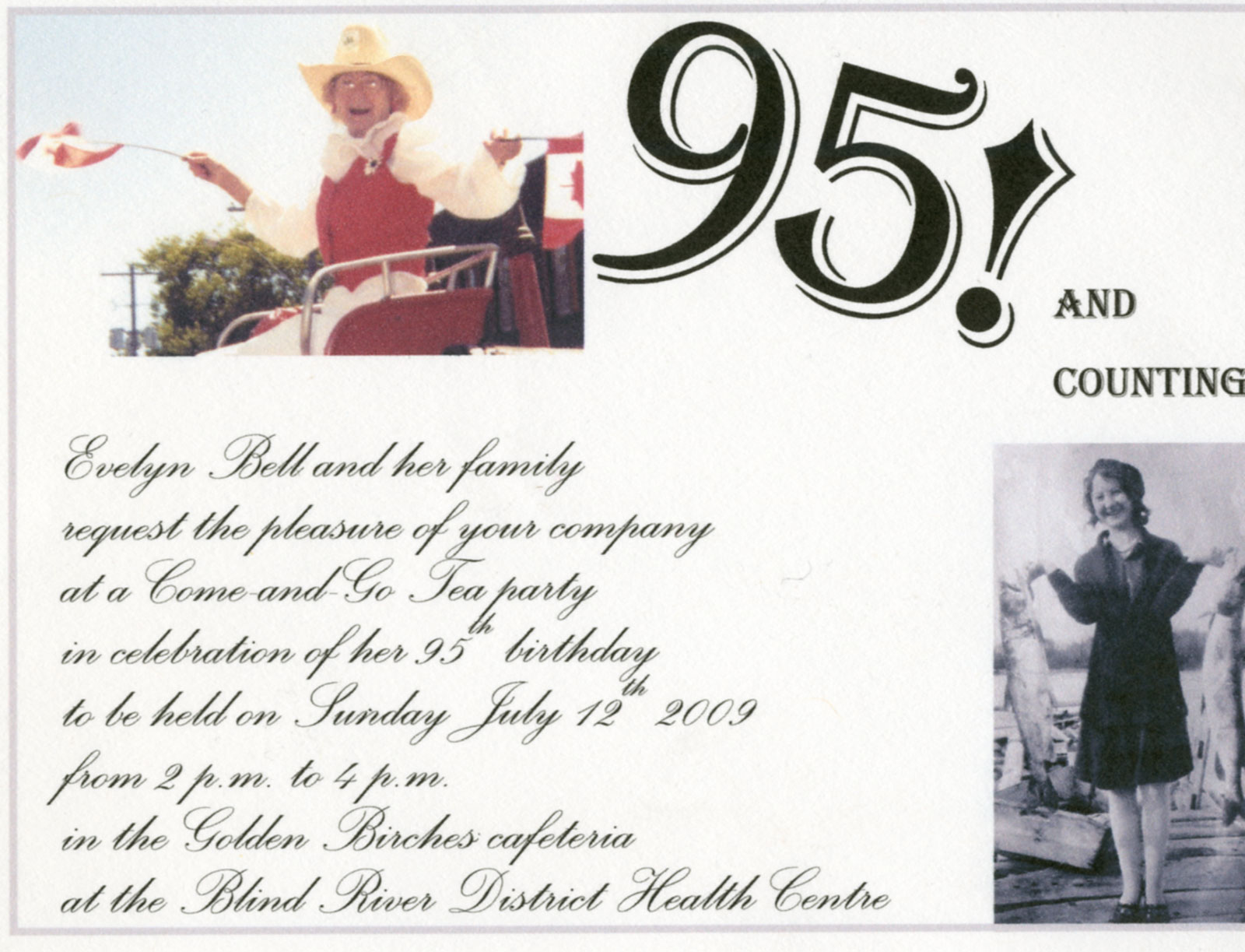 95 And Counting Evelyn Bell Birthday Invitation Blind River 2009 Digital Collection