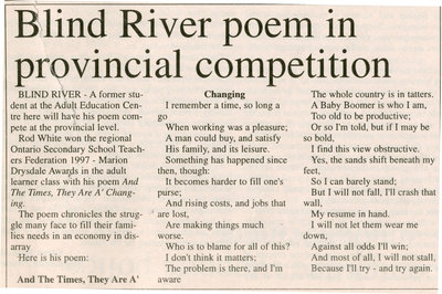 Blind River Poem in Provincial Competition, The Standard 1997