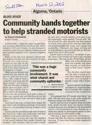 Blind River Community Bands Together To Help Stranded Motorists, 2002