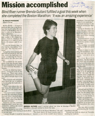 Mission Accomplished As Blind River Runner Completes Boston Marathon, 2002