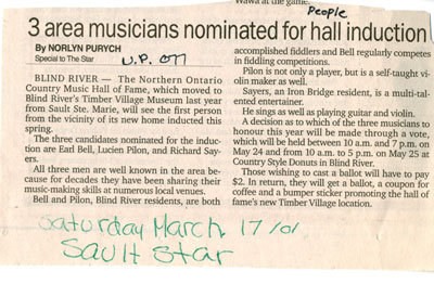 3 Area Musicians Nominated For Hall Induction, Blind River, 2001