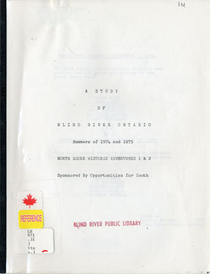 A Study of Blind River Ontario, 1974-1975