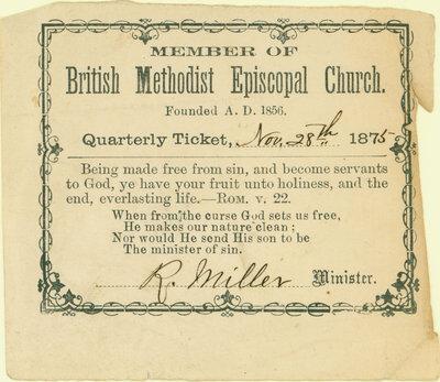 British Methodist Episcopal Church Tithing Ticket, 1875