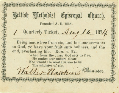 British Methodist Episcopal Church Tithing Ticket, 1874