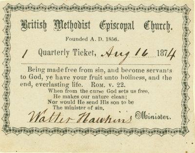 British Methodist Episcopal Church Tithing Ticket, 1874