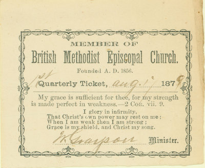 British Methodist Episcopal Church Tithing Ticket, 1879