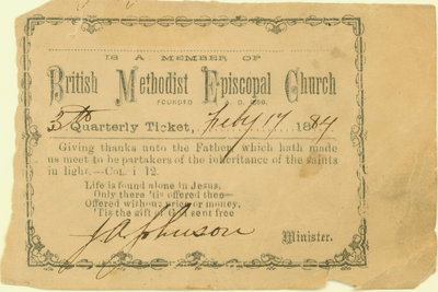 British Methodist Episcopal Church Tithing Ticket, 1884