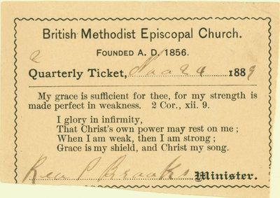 British Methodist Episcopal Church Tithing Ticket, 1889