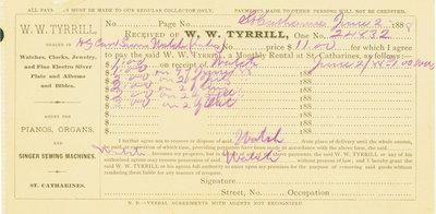 W.W. Tyrrill receipt, June 1888