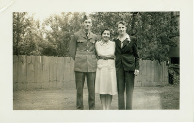 Lizzie Sloman with Ab and son in London, Ontario [n.d.]