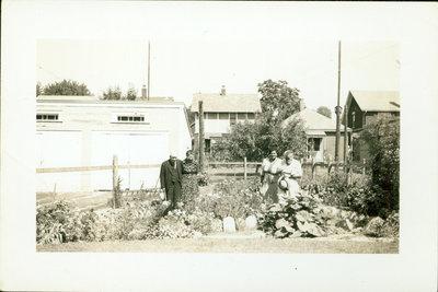 Albert, Josie and Iris Sloman in the Vegetable Garden [ n.d.]