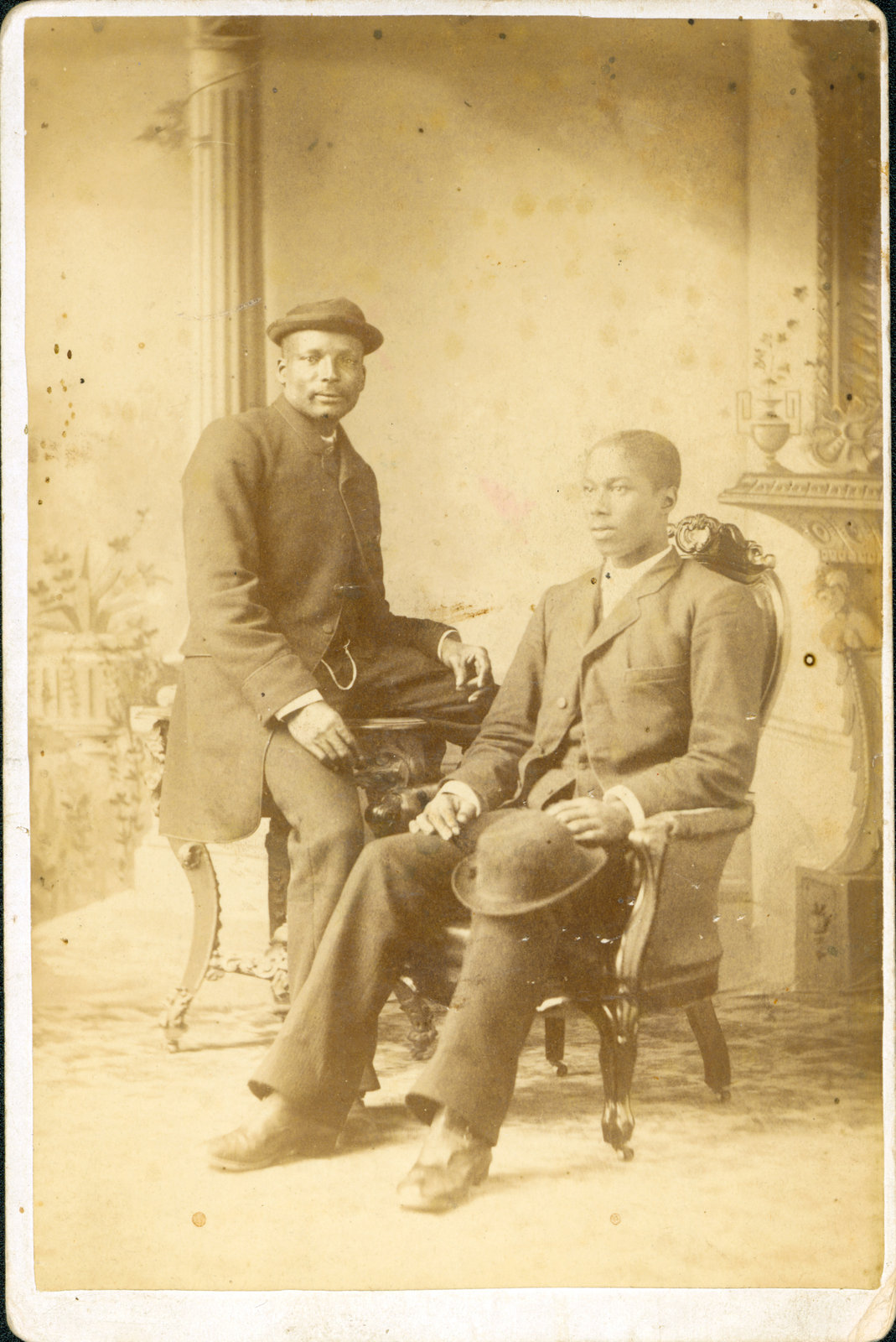 An undated cabinet card of two Black men photographed in London or St. Thomas, Ont, circa 1866-1890. Courtesy the Brock University James A. Gibson Special Collections & Archives.