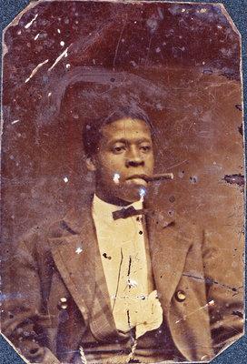 Tintype of Man Smoking a Cigar [n.d.]
