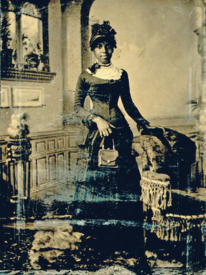 Tintype of Young African American Woman Standing with Purse [n.d.]