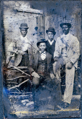 Signed Tintype of African American Men in Derby Hats [n.d.]