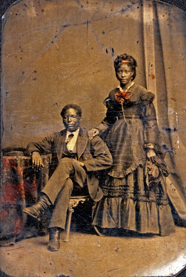 Tintype of African American Couple in  Studio Portrait [n.d.]
