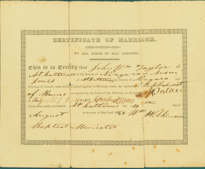 Certificate of Marriage, John William Taylor - Susan Jones, 1851