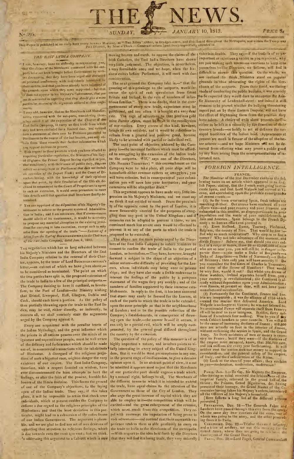 The News, 10 January 1813, No. 395