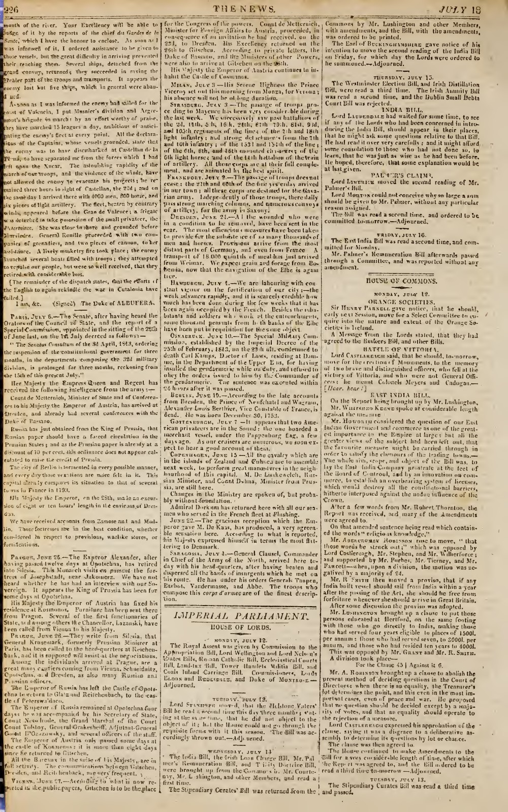 The News, 18 July 1813, No. 422