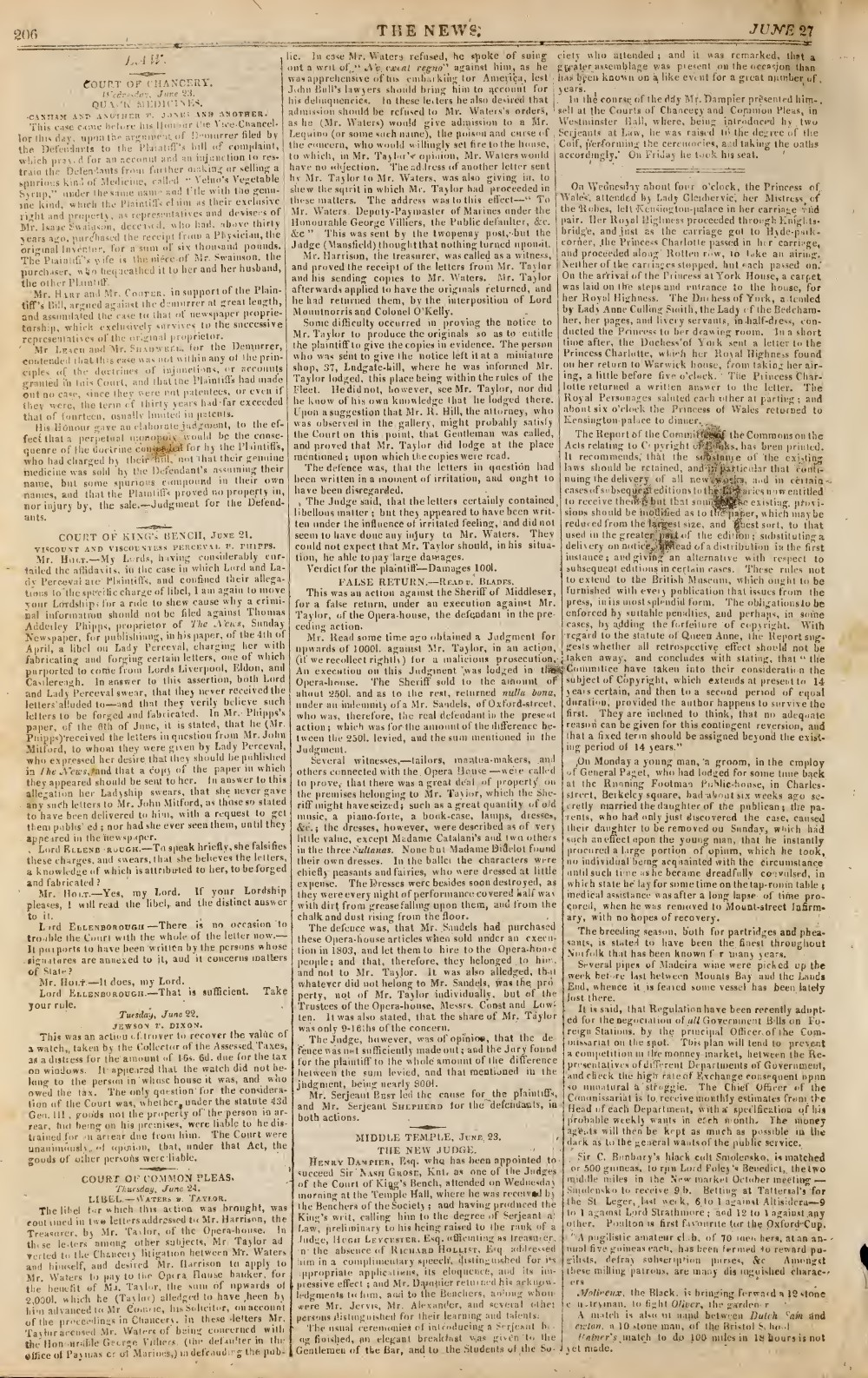 The News, 27 June 1813, No. 419