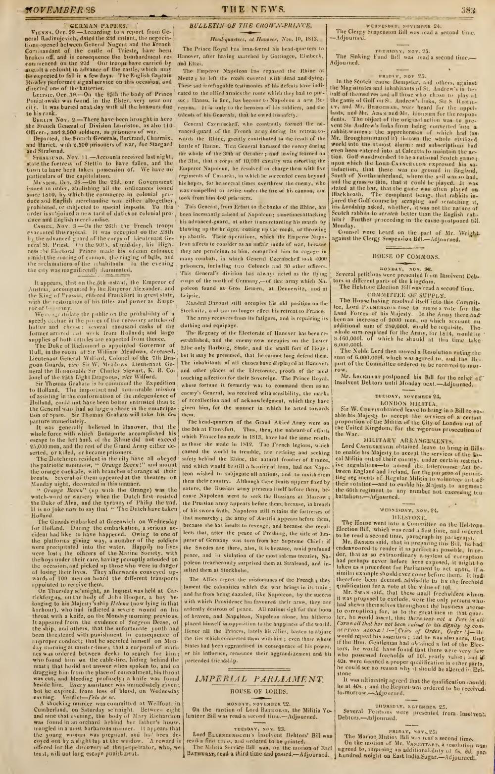 The News, 28 November 1813, No. 438