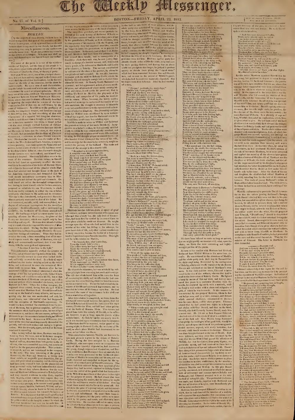 The Weekly Messenger, 23 April 1813 (vol. 2, no. 27)