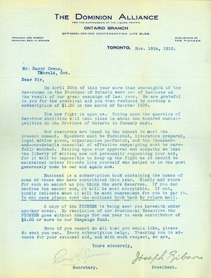 Letter - Dominion Alliance to Mr. Harry Cowan