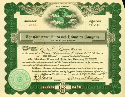 Shares Certificate - Gladstone Mines and Reduction Company