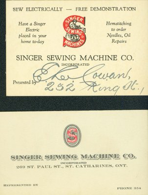 Business Card - Singer Sewing Machine Co.
