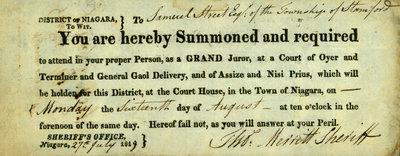 Summons to Samuel Street from Thomas Merritt, 27 July 1819