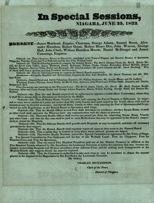 Order to create a General Board of Health in the Town of Niagara, June 25, 1832