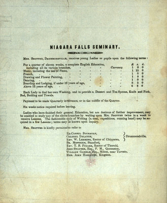 Niagara Falls Seminary [school for young Ladies] advertisement, ca. 1840