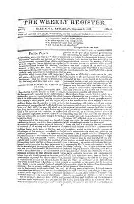 The Weekly Register - October 1811