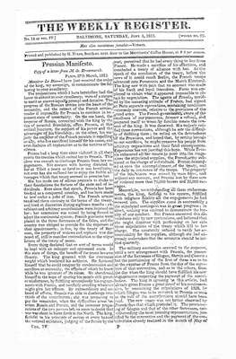 The Weekly Register - June 1813